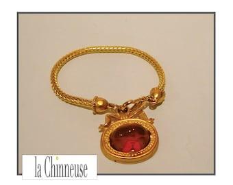 KARL LAGERFELD BRACELET / french Vintage Jewel / Karl Lagerfeld Bangle / Bracelet charm Karl Lagerfeld.