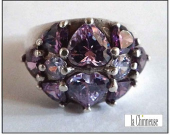 VINTAGE Sterling Silver & cubic zirconia /Bague silver vintage RING and cubic zirconia / sterling silver ring.