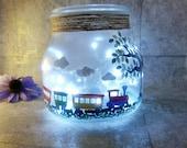Boys room night light, Trains decor, unique light up jar,  Fairy Lights, Train for kids room, New baby gift, baby shower presents, children