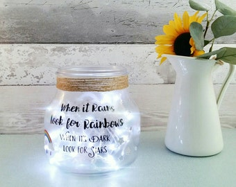 Rainbow Jar, rainbows and stars table lamp, light up jar, bedroom lighting for kids, cute night light, gifts for girls, colourful home lamps
