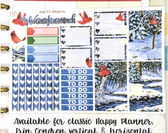 Winter Cardinals sampler stickers - for Erin Condren Vertical and Horizontal Planners -  December January Christmas snow