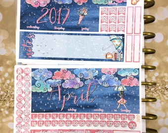 SALE - April 2017 Showers monthly view spread - for Happy Planner & Erin Condren Vertical Horizontal Planners - easter spring rain glitter