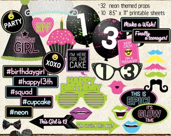 Photo Booth Props, HAPPY 13TH BIRTHDAY, girl, teen birthday party, glow, neon, black light, printable sheets, instant download, diy