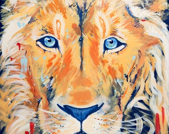 Lion Prince Colorful Original Art Print--Kids Room Decor