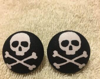 Skull button stud earrings
