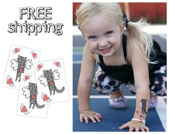 """Set of 3 tattoos """"Love cat"""". St. Valentine's day themed temporary kids tatts with heart and angel sweet cat. Best party bag supply. TT087"""