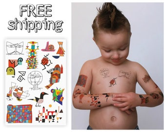 Set of 14 abstract temporary tattoos based on Paul Klee paintings on sheet 15x21 cm. Inluding Cat and Bird and Bauhaus Ausstellung. TA009
