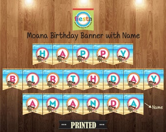 Moana Birthday Banner with Name (Printed)