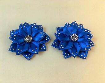 Blue satin ribbon and diamonte Kanzashi hair clip accessories