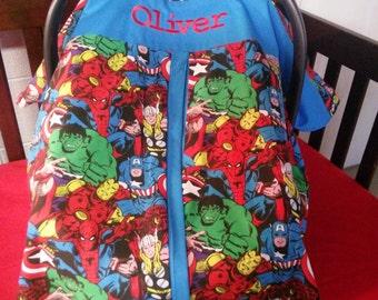 Marvel Superhero Carseat Canopy, Superhero Carseat Cover, Personalized boy Car seat,