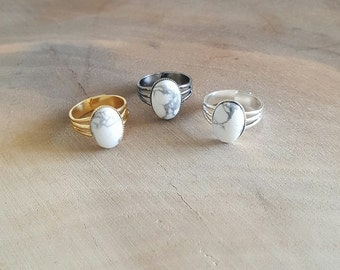 Howlite Rings - Stone Ring - Howlite Stone