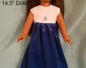 """Dixie-crafted Blue and White Dress  to fit 14.5"""" Dolls including those from the American Girl Doll Clothes Company"""