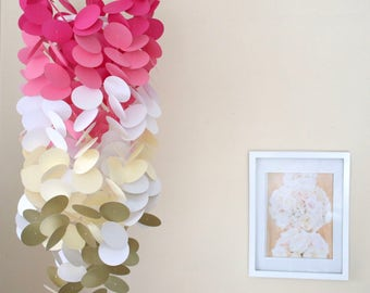 Circle Crib Mobile: Circle. Crib Mobile. Pink, White, Cream, Gold. Decor. Nursery. Baby shower. Birthday gift. Gift. Backdrop.