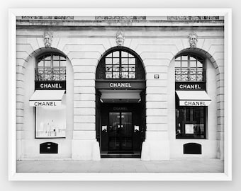 Chanel Boutique Poster, Chanel Paris Boutique, Chanel Black And White, Chanel Store Print, Chanel Wall Art, Chanel Fashion, Paris France