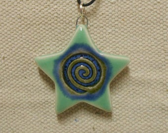 Spiral Star Wiccan Pendant Mint Green and Mottled Blue