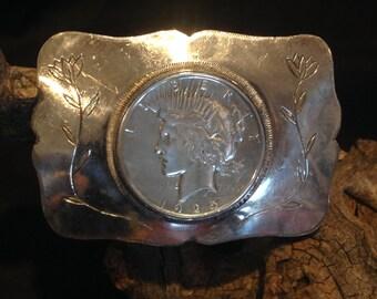 1925 Peace Dollar Silver Belt Buckle