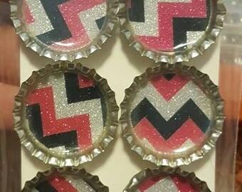 Pink/Silver/Black Chevron Bottle Cap Magnets