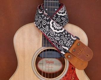 Black Flower Graphic Guitar Strap
