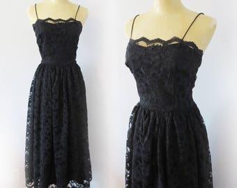 Vintage 1980's Black Satin Lace Midi Dress Size S/M 34 Bust