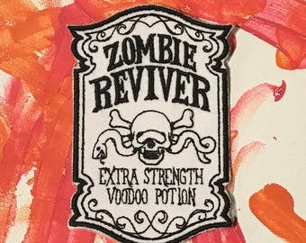 Zombie patch, zombie reviver, voodoo potion, zombie applique, zombie survival, zombie apocalypse, walking dead gift under 10, gift for her