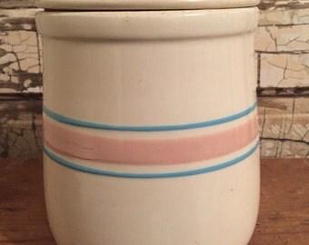 McCoy Cookie Jar Blue Pink Striped 131 Stoneware