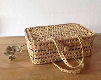 Suitcase vintage palm leaf, natural, openwork suitcase, child's room, small storage / small suitcase in Palm tree leaf