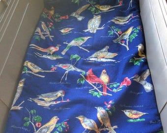 Medium Crate Bed Liner Birds Navy Brown Velvet