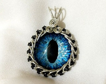 Blue Hand-Painted Dragon Eye Pendant w/Silver and Black Wire Wrap (with Necklace)
