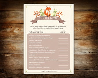Baby Shower Game - Find the Guest Game Printable - Woodland Baby Shower Game - Baby Shower Guest Game - Digital Instant Download - 0006-N