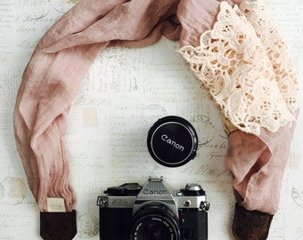 Photography Camera Strap, Pink Dusty Lace, Scarf Camera Strap