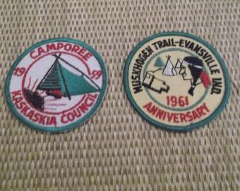 Two (2) Vintage Boy Scout Patches --Muskhogen Trail 1961 --Camporee 1959 -- Kaskaskia Council