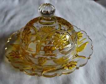 Victorian Yellow Flower Butter Dish