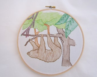 Sloth Scene Embroidered Hoop Art