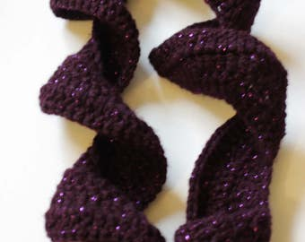 Extra long Berry/Wine colored rippled scarf