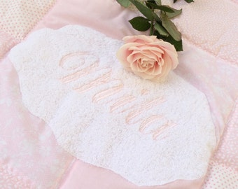 Personalized Baby Blanket - Baby Rag Quilt- Baby Patchwork Blanket - Pink rag quilt - Baby Girl rag quilt - Nursery Decor