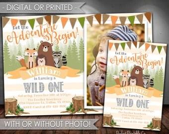 Woodland Invitation, Woodland Birthday Invitation, Woodland Animal Birthday Invitation, Let the Adventure Begin, Boy Birthday, #539
