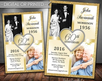Wedding Anniversary Invitation, Wedding Anniversary Invite, 30th, 40th, 50th, 60th, 70th, 80th, Gold, Golden, Digital File, Printed, #317