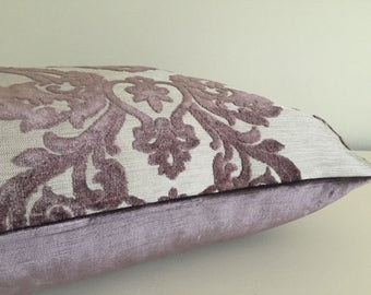 Pillow Cover Purple Velvet Damask