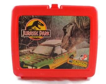 1993 Jurassic Park Red Plastic Lunch Box Vintage (Keep Windows Up)