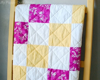 Handmade Baby Quilt, Purple and Yellow Crib Quilt, Yellow, White, Raspberry Baby Quilt, Sunny Baby Blanket, Pink and Yellow Quilt