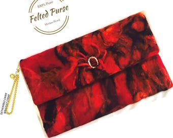 Red  Felted Purse, Wristlet Fashion Clutch. Needle Felted Purse.