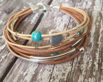 Leather and sterling silver bracelet/ multi strand