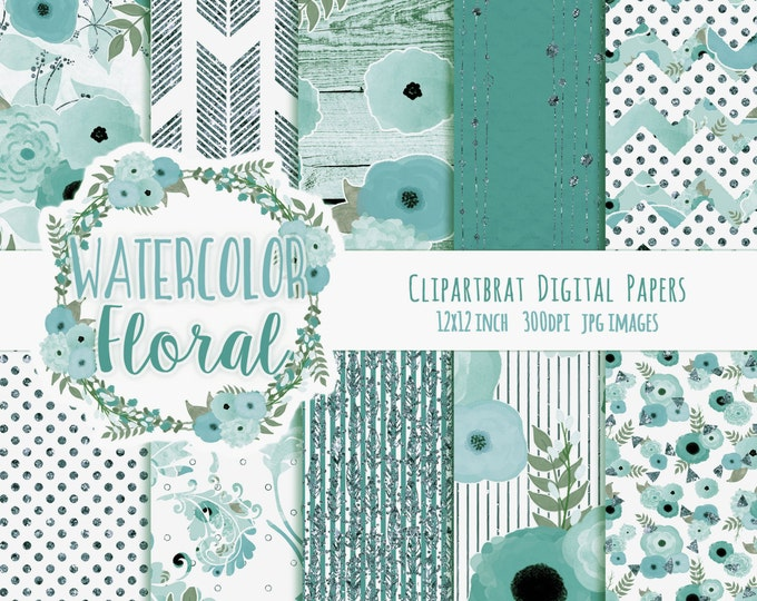 WATERCOLOR FLOWER Digital Paper Pack Aqua & Teal Metallic Commercial Use Digital Paper Shabby Chic Wood Boho Floral Wedding Digital Paper