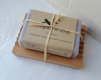Lavender Soap Wooden Soap Dish Gift Set