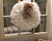 Cotton muslin rag wreath