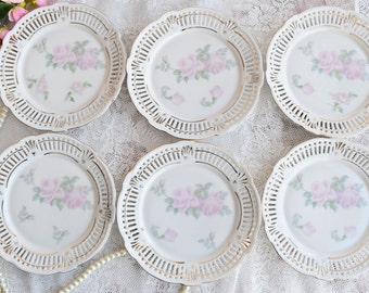 Plate set vintage floral plate set made in Germany dessert plate set german porcelain perfored plate set openwork porcelain