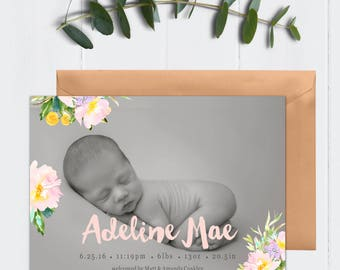 5x7 Pink and Pastels Watercolor Flower, Floral Printable Birth Announcement