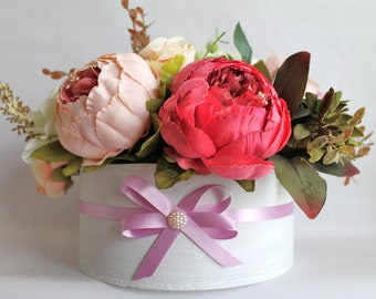 Artificial flowers, flower arrangement, faux flowers, mothers day flowers, shabby chic style, gifts for her, wedding flowers, birthday gift