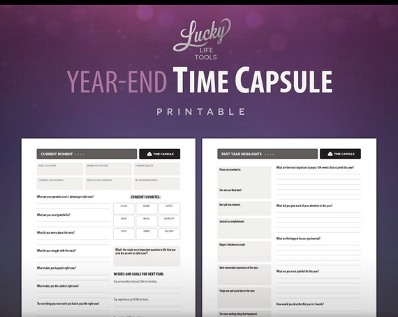 Year-end TIME CAPSULE, 2-page CLUB pdf Printable, 8.5 x 11 (Letter Size)
