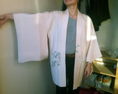 Japanese Kimono Silk Haori - Light Pink/cream with Flowers